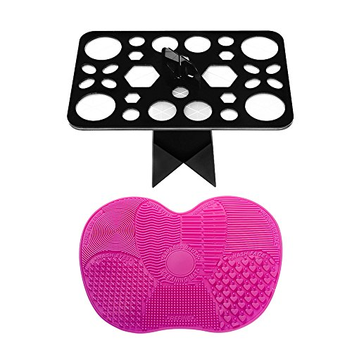 Zealite Makeup Brush Cleaning Mat and 28 Holes Brush Drying