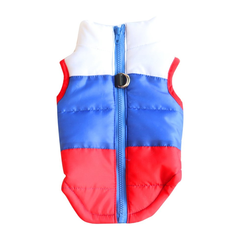 Handfly Dog Coat Waterproof Jacket Warm Padded Puffer Vest D-Ring Dog Jacket Coat For Small Medium Large Dog,black red orange mixed color