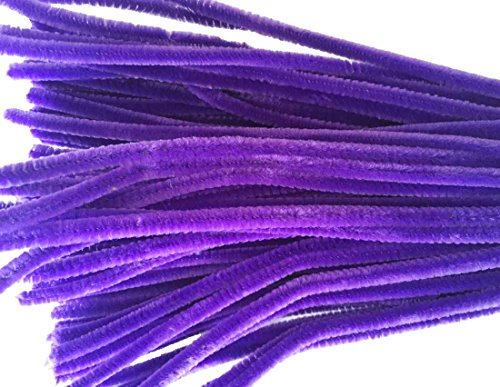 Purple Chenille Stems - Caryko Super Fuzzy Chenille Stems Pipe Cleaners, Pack of 100 (Purple)