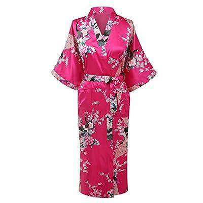 Vogue Forefront Women's Peacock&Flower Print Satin Long Kimono Robe Bathrobe