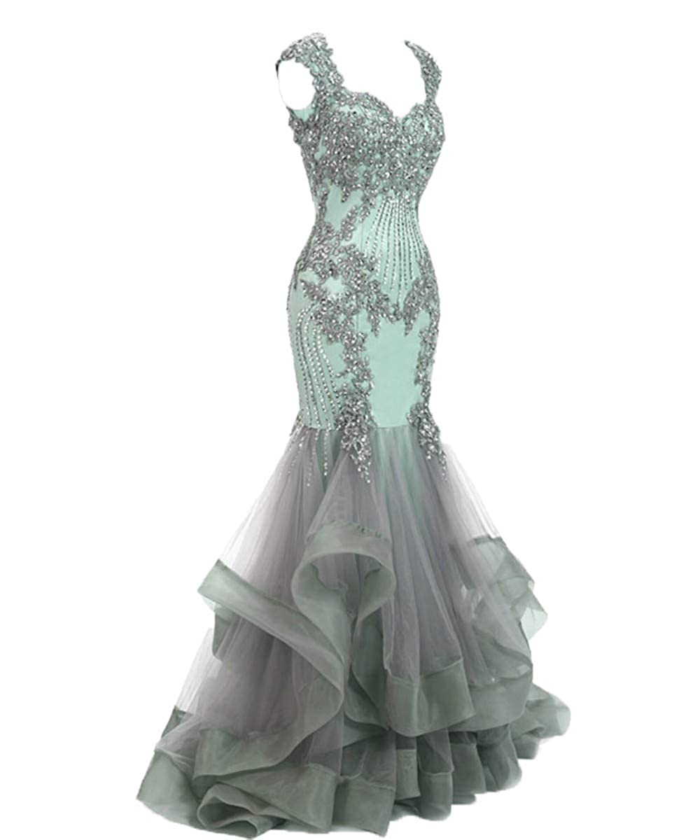 Mint Silver FTBY Women's Mermaid Evening Dress Backless Beaded Lace Formal Evening Prom Dresses Long Plus Size