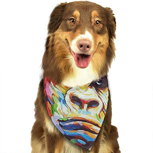 Pet Scarf Dog Bandana Bibs Triangle Head Scarfs Painting Monkey Accessories for Cats Baby Puppy ()