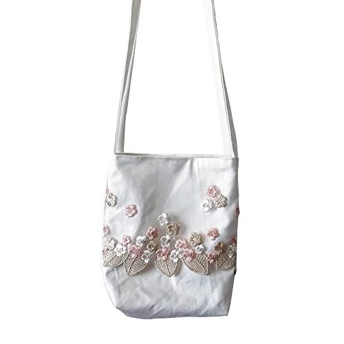 Oath song Women s Floral Embroidered Lace Canvas Crossbody Bag Small Size ( pink) 7f305c7f712d1