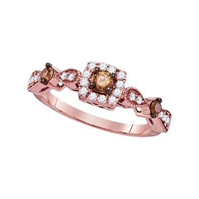 14kt Rose Gold Womens Round Brown Enhanced Diamond Solitaire Bridal ... 441f88fe0d