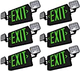 SupremeLED All LED Exit Sign & Emergency Light Combo with Battery Backup (Green Black 6 Pack)