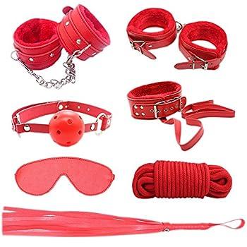 GEBDSM 7Pcs Leather Fetish Erotic Bondage Bed Restraints Top SM Sex Tools Set adult Sex Lingerie Game BDSM Kit (Red)