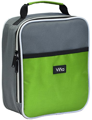 Vina Portable Lunch Bag Food Drinks Fruits Cooler Tote Outdoor Sports Yoga Running Thermal Insulated Lunchbox Single Layer with Dual Zipper Closure, Front Pocket Green