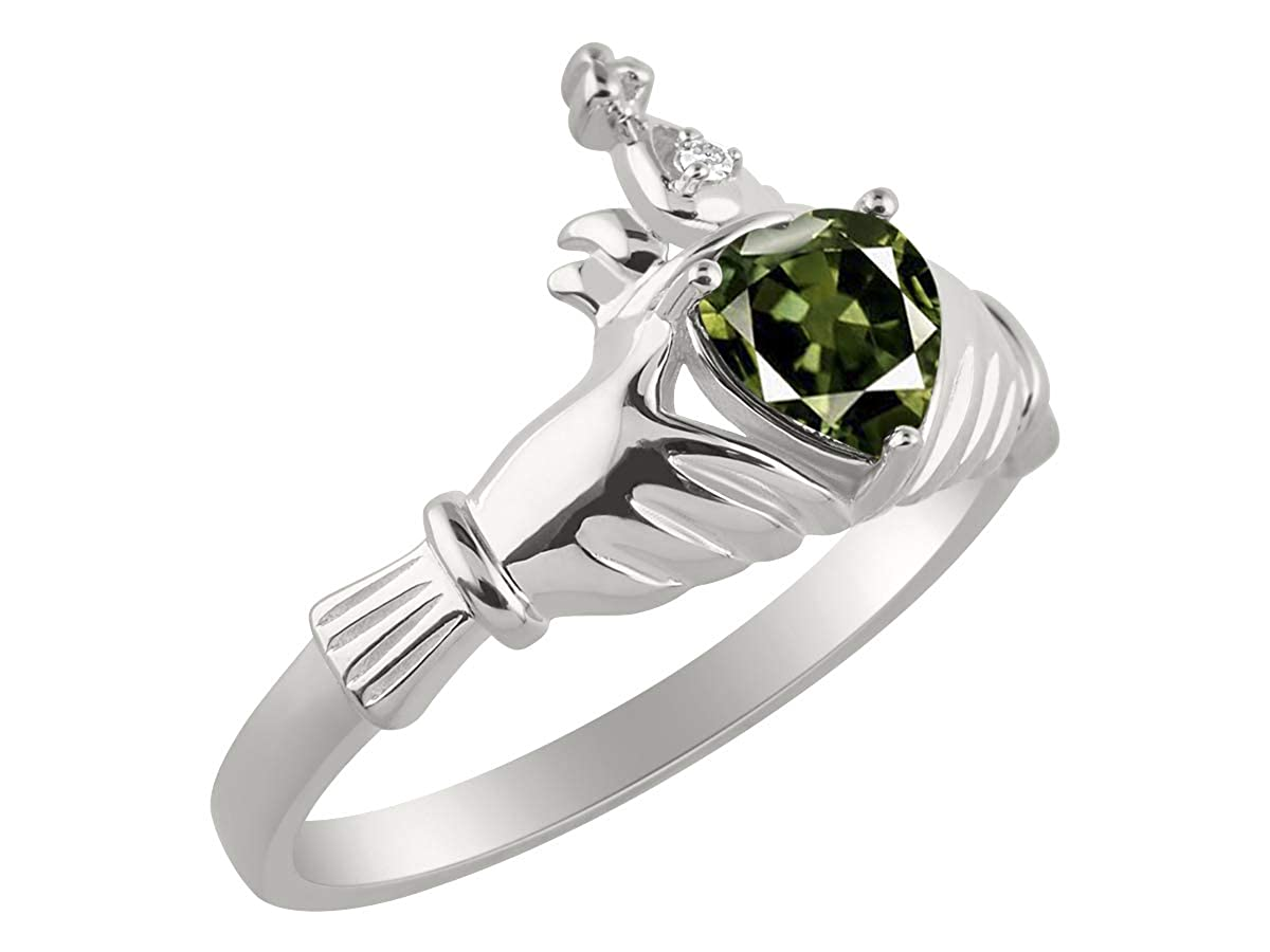 RYLOS CLADDAGH Claddah Love Loyalty /& Friendship Ring Ring with Heart Gemstone and Diamond in Sterling Silver .925-6MM Color Stone
