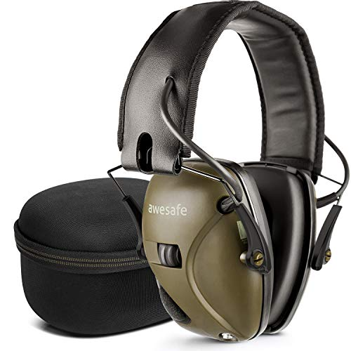 awesafe Electronic Shooting Earmuff [ Comes with Hard Travel Storage Carrying Case Bag], GF01+ Noise Reduction Sound Amplification Electronic Safety Ear Muffs and Storage Case by awesafe