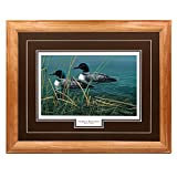 ''Together Always'' - Cynthie Fisher – Loons for Life and Nature Classic Wall Art Print for Home / Office / Hotel / Cabin / Gift, 17 x 21 in., Brown Mat / Light Oak Frame – More Frames Available