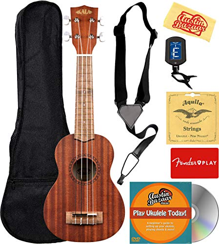 Kala KA-15S Satin Mahogany Soprano Ukulele Bundle with Gig Bag, Tuner, Strap, Aquila Strings, Online Lessons, Austin Bazaar Instructional DVD, and Polishing Cloth ()