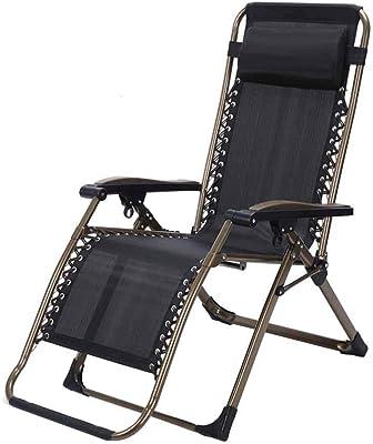 Textilene Fabric Folding Reclining Chair Zero Gravity Lunch Break Garden Relaxer Deck Chairs Black