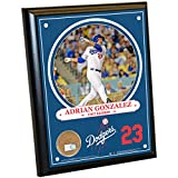 "MLB Los Angeles Dodgers Adrian Gonzalez Plaque with Game Used Dirt from Dodger Stadium, 8"" x 10"", Navy"