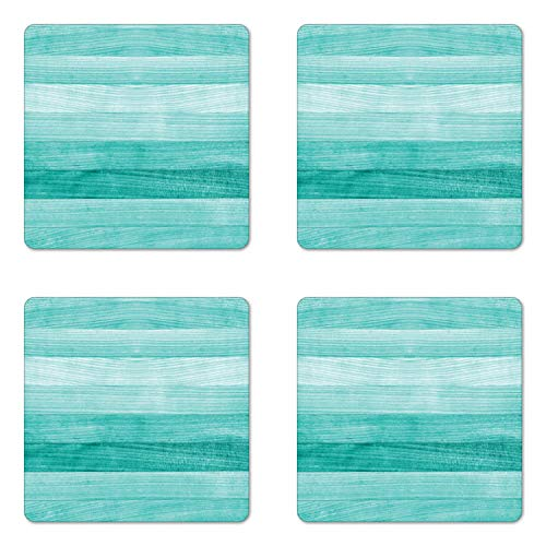 Ambesonne Teal Coaster Set of Four, Painted Wood Board with Horizontal Lines Birthdays Easter Holiday Print Backdrop Image, Square Hardboard Gloss Coasters for Drinks, Turquoise ()