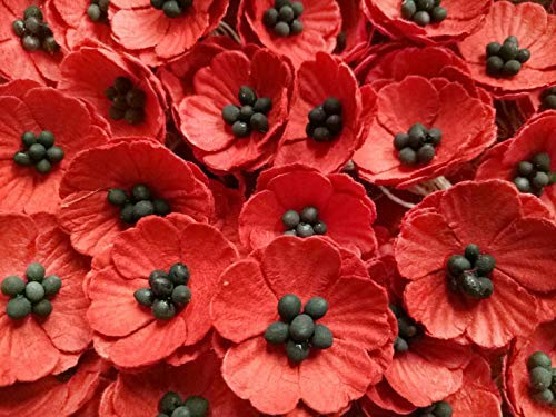 NAVA CHIANGMAI Red Poppy Mulberry Paper Flower (No Wire stem) Mulberry Paper Flowers, Red Paper Flowers, Miniature Flowers, DIY Wedding, Wedding Decor, Artificial Mulberry Paper Flowers, 100 Pieces