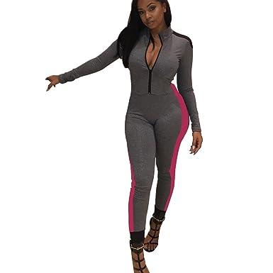 4ac7bd961e3d Amazon.com  Mycherish Women Long Sleeve V Neck Zipper Bodycon Slim Jumpsuit  Sport Outfit  Clothing