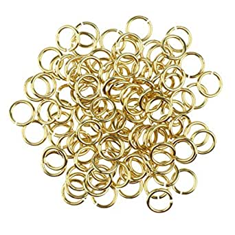 Prettyia 100/pack Gold Open Jump Rings Loops Jewelry Making Supplies 6mm 8mm 10mm 12mm 14mm - Gold, 6mm