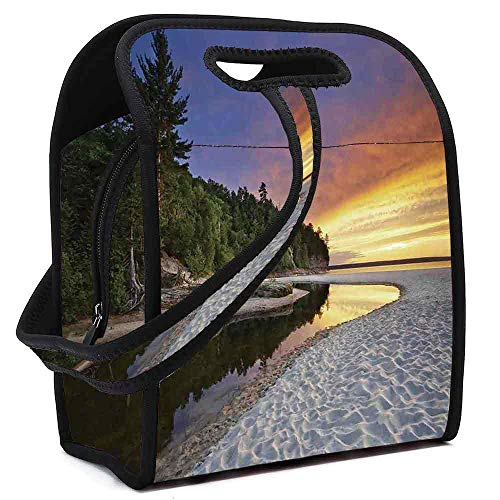 Landscape Neoprene Lunch Bag,Scenic Seaside Sunset Wavy Waters Seafoam Trees Forest Hill Colorful Cloudy Sky for Students Women Office worker,Square(8.5''L x 5.5''W x 11''H)