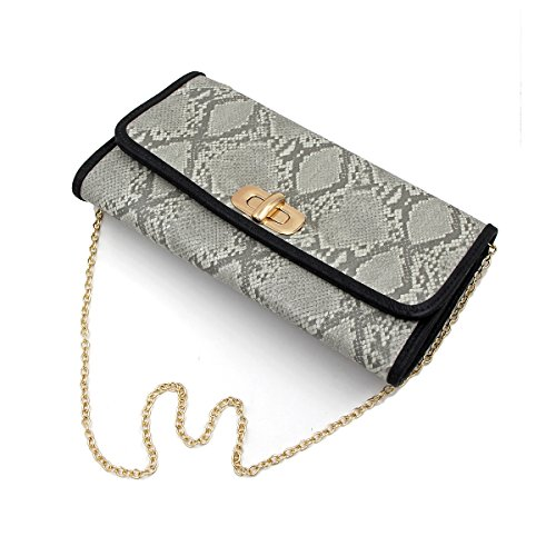 Premium Snakeskin PU Leather Turnlock Flap Handbag Clutch Bag, Light (Skin Leather Clutch)