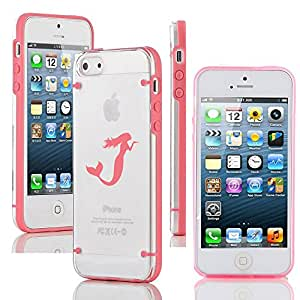 Apple iPhone 5c Ultra Thin Transparent Clear Hard TPU Case Cover Mermaid (Pink)