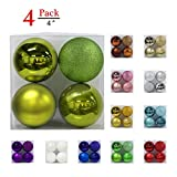 Christmas Balls Ornaments for Xmas Tree-Shatterproof Christmas Tree Decorations Large Hanging Ball Lemon Green 4.0''