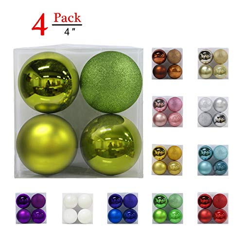 Christmas Balls Ornaments for Xmas Tree - Shatterproof Christmas Tree Decorations Large Hanging Ball Lemon Green 4.0