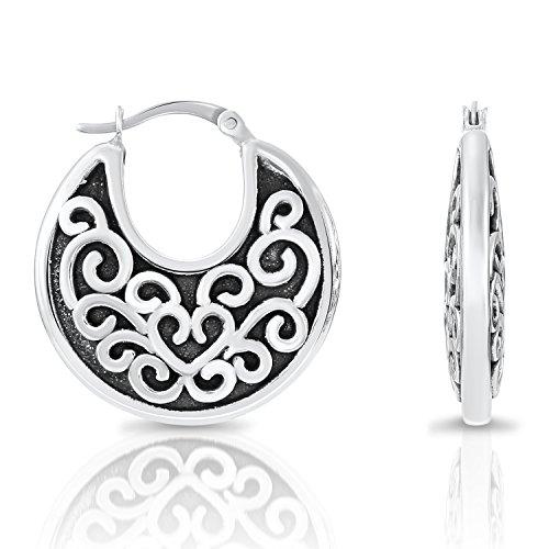 Sterling Silver Bali-inspired Round Hoop Earrings - 1'' - Hoop Sterling Silver 1'