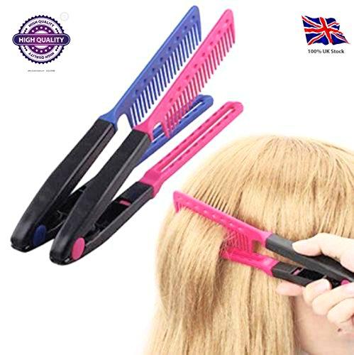DIY Salon y Home V estilismo pelo alisador cepillo alisador peine peluquería: Amazon.es: Belleza