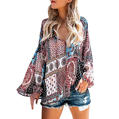 HGWXX7 Womens Tops Long Sleeve Boho Floral Print V Neck Casual Blouse T-Shirts(2XL,Multicolor) from HGWXX7