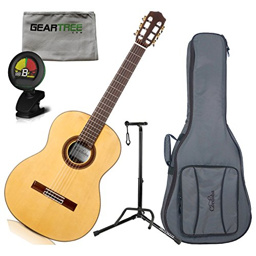 Cordoba C7 Spruce Rosewood Nylon String Acoustic Guitar with Gig Bag, Geartree C