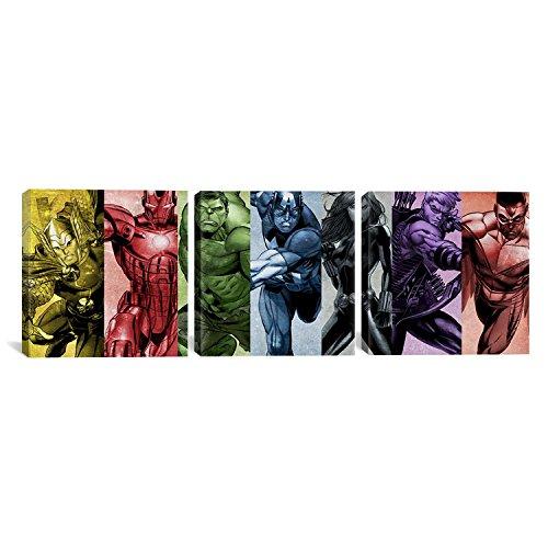 iCanvasART MRV556 - Impresión panorámica de 3 piezas de los Vengadores del Arco Iris de Marvel Comics sobre lona, 91,4 x...