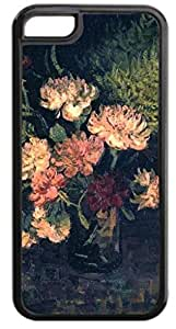 Vincent Van Gogh's Vase with Carnations- Case for the APPLE IPHONE 5, 5s-NOT THE 5s for you!!!-Hard Black Plastic Outer Case with Tough Black Rubber Lining