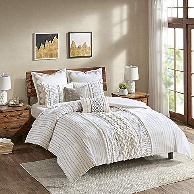 "INK+IVY Imani Cotton Comforter Mini Set, Ivory - 1 Comforter 104""W x 92""L; Collection Imani 2 King Shams 20""W x 36""L (2) Item Weight 8.95 - comforter-sets, bedroom-sheets-comforters, bedroom - 51B11QJHerL. SS400  -"