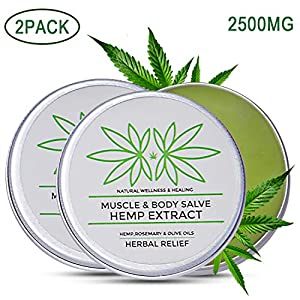 2 Pack Hemp Pain Relief Balm, 5000mg Hemp Extract,...