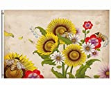 Wamika Welcome Autumn Fall Flag 3x5 FT Brass Grommets Retro Honey Bees Wildflowers Sunflowers Daisy Rose Flowers Floral Garden Yard House Flag Banner Indoor Outdoor Home Party Decoration