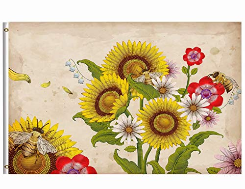 Wamika Welcome Autumn Fall Flag 3x5 FT Brass Grommets Retro Honey Bees Wildflowers Sunflowers Daisy Rose Flowers Floral Garden Yard House Flag Banner Indoor Outdoor Home Party Decoration by Wamika