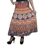 Boho Wrap Skirt Elephant Printed Cotton Blue/Red Wrap Around Dress Long Skirts …