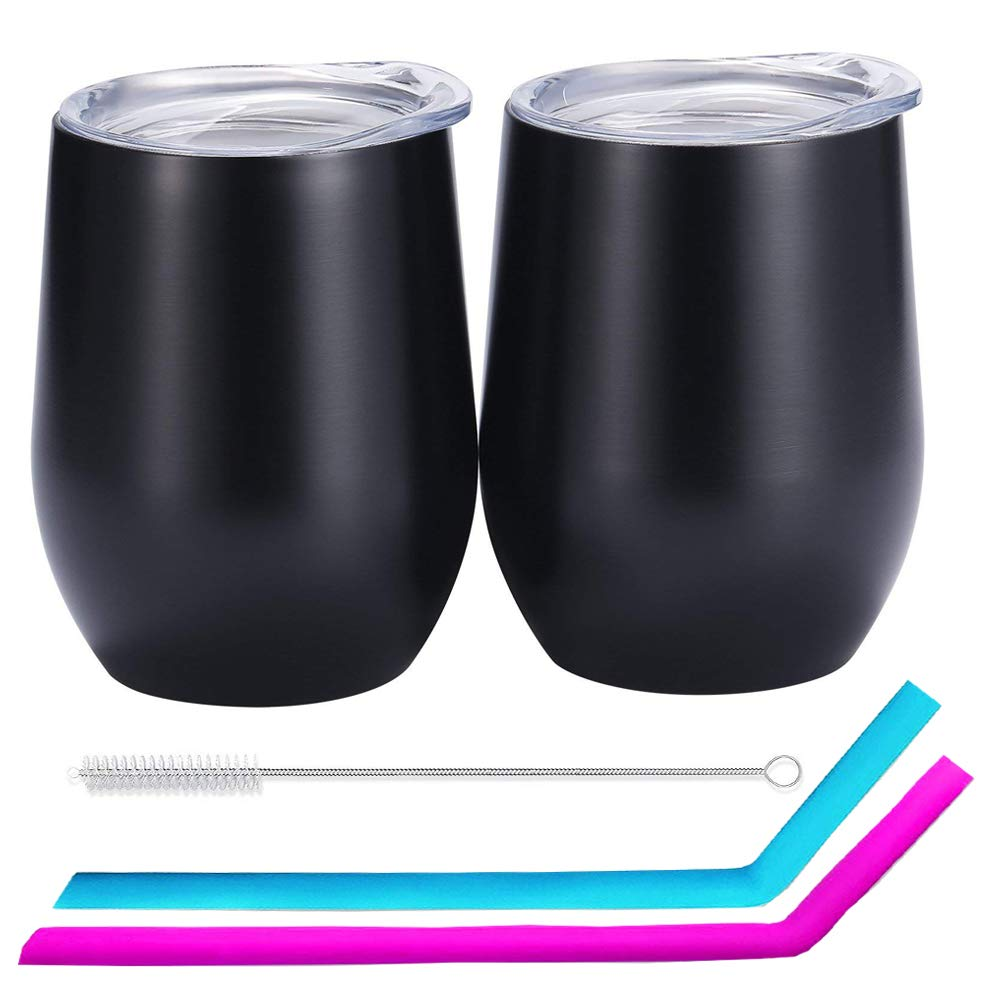 EigPluy 12 oz Stemless Wine Glass Tumbler Double Wall Vaccum insulated Stemless Wine Glasses with Lid and Reusable Straw,Unbreakable Stainless Steel Wine Tumbler Cup,Set of 2 (Black)