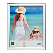 Kiera Grace Avery Picture Frame, 8 by 10 Inch, White and Silver Lining