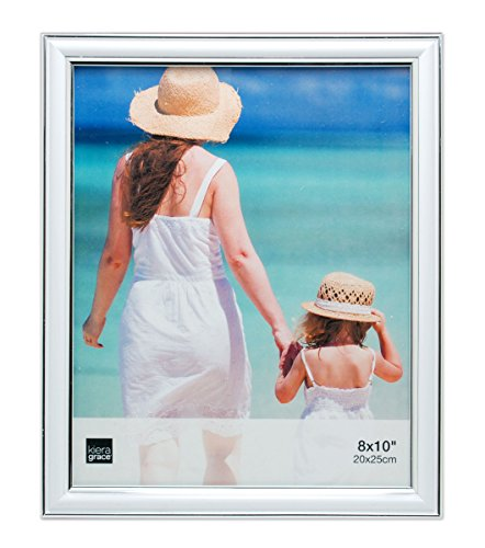 Kiera Grace Avery Picture Frame, 8 by 10 Inch, White with Silver Lining (8x10 Picture Frame Silver)
