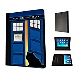 453 - Doctor Who Tardis Call Box Cat Open Door Design Fashion Trend TPU Leather Flip Case For Apple iPad Mini 1 2 & ipad mini Retina 1 2 3 Full Case Flip TPU Leather Purse Pouch Defender Stand Cover
