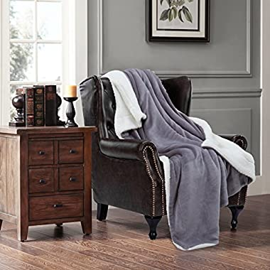 Bedsure Sherpa Blanket Throw Blankets Bed Blankets, Soft Cozy and Warm(Reversible/Textured/Fuzzy), 60  x 80  Lt Grey