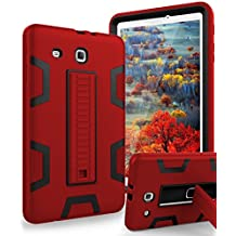 TIANLI Samsung Galaxy Tab E 9.6 Case Anti-Scratch Shockproof Three Layer Full Body Armor Protection with Sturdy Kickstand Anti-Fingerprint,Red Black