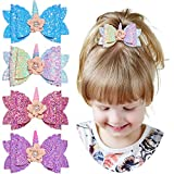 QtGilr Unicorn Hair Bow Clips Glitter Hair Clips Barrette for Baby Girls, Sequins Bow with Flower for Girls Teens Party Pack of 4