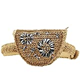 100% Handmade Outdoor Straw Braided Woven Beach Bag Flower Pattern Dual-Purpose Travel Sling Bag Waist Pack
