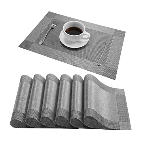 Nacial Gold Placemats PVC Heat Resistant Table Placemat Washable Non-Slip Wipe Clean Table Mats Set of 6 for Dining Kitchen Restaurant Patio Table