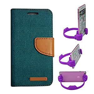 Aart Fancy Wallet Dairy Jeans Flip Case Cover for Asuszen-5 (Green) + Flexible Portable Mount Cradle Thumb OK Designed Stand Holder By Aart Store.