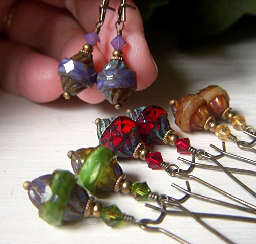 Turbine Earrings on Brass, Your Choice of Color - Green, Lavender, Red, or Amber, Czech Glass