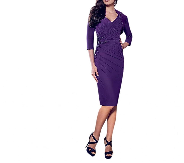 Dearta Women's Sheath V-Neck Knee-Length Stretch Mesh Social Ocassion Dresses