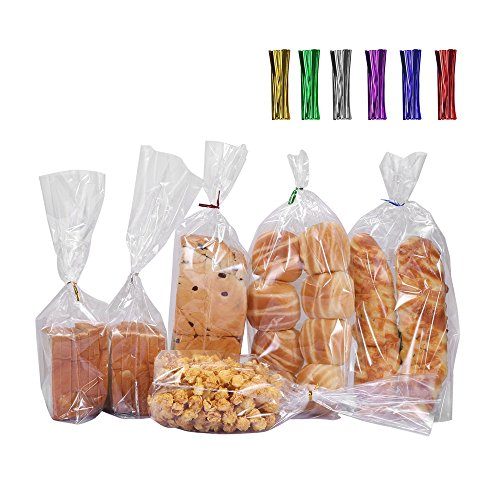 100 Clear Bread Loaf Bags Gusset with 4